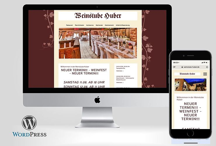 Weinstube Huber setzt auf WordPress