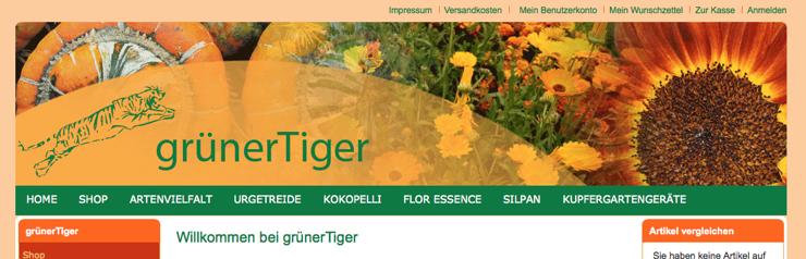 grünerTiger der Shop für ausgefallene Samen und Pflanzgeräte startet mit Magento